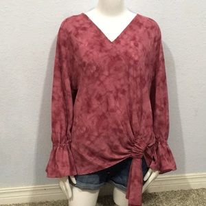 Juicy Couture Tie Dye Long Bell Sleeve Knotted Top
